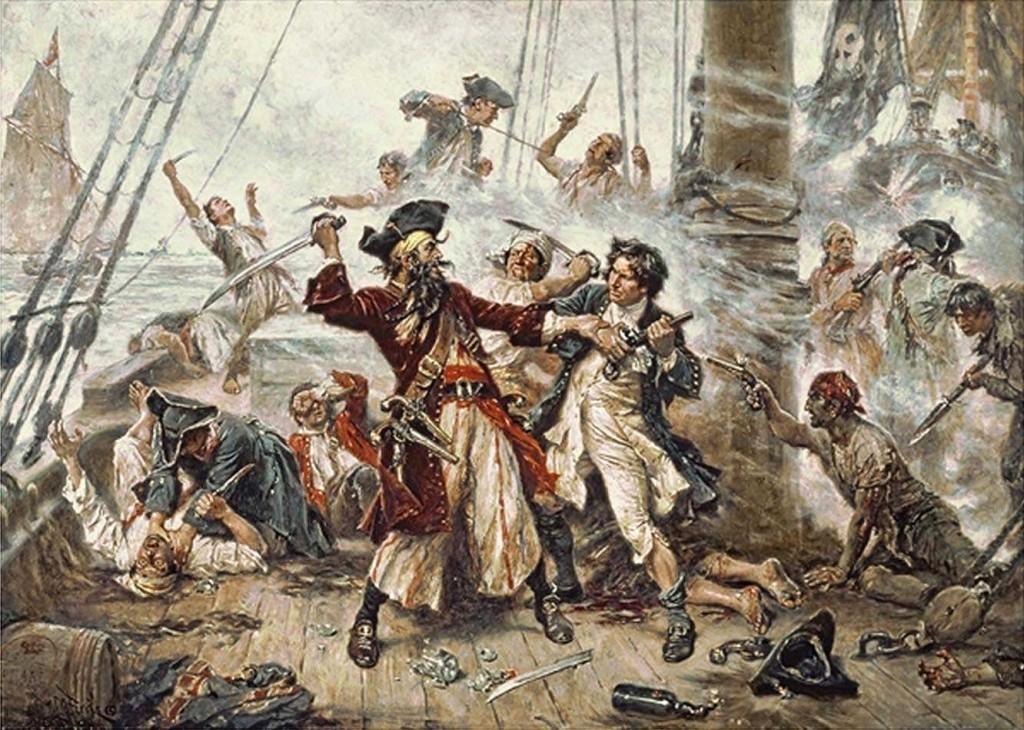 combat naval entre Barbe-Noire et le lieutenant Maynard, avec un combat au corps-à-corps sur le pont du navire